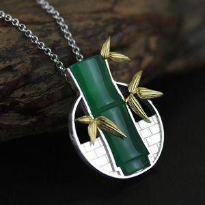 INATURE 925 Gümüş Güzel Takı Doğal Kalsedon Bambu kolye kolye