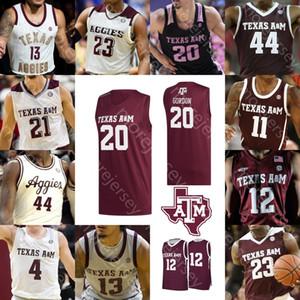Personalizzato Texas AM Aggies Basketball Maglia NCAA College Khris Middleton Alex Caruso Josh Nebo Savion Flagg Mitchell Jackson House Sloan