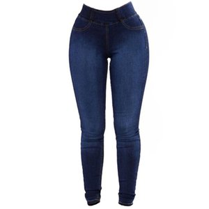 Wipalo Womens Plus Size Mode Slim Fit Stretchy Röhrenjeans Casual Solid Denim Blue Pencil Hosen Damen Hose 3XL Hosen