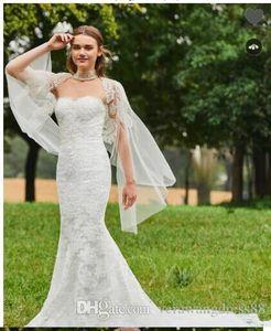 2018 NEW Sweetheart Mermaid Lace Wedding Dress with Shawl