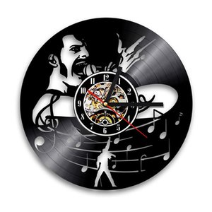 Vintage Vinyl Record Wall Clock Queen Rock Band 3D Sticker Decoration Music Theme Hanging Clocks Wall Watch Art Home Decor 12