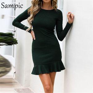 امرأة Sampic طويلة الأكمام BODYCON س الرقبة اللباس حزب الكشكشة أنيقة التفاف الخريف النادي ثوب شتاء 2019