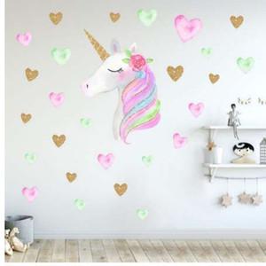 Мультфильм милые единороги Звезда сердце наклейки на стены скандинавском стиле Детская комната гостиная декор DIY Главная наклейки на стены наклейки