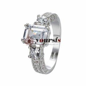 Vogue gioielli in stile Charms 18k oro bianco placcato uso Austria cristallo piazza Emulational Diamond Anelli di nozze gratis spedizione R220W1