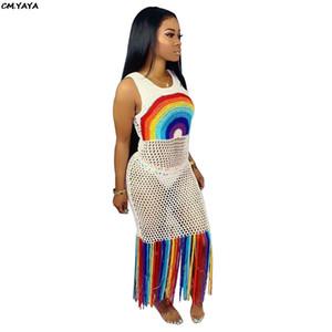 Yeni kadın elbise yaz gökkuşağı çizgili tül ızgara oymak püskül hem ekleme bodycon midi maxi plaj elbise 2 renk