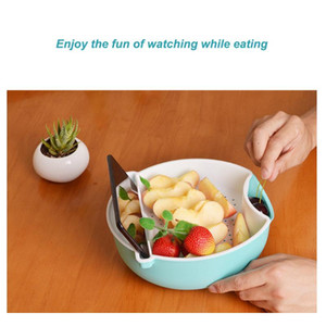 Hot Multifunction Double Layer Fruit Dish Snack Plates Storage Box with Trash Can Phone Holder Stents Lazy Person Dry Fruit Tray