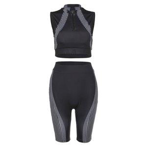 Running set women gym clothing fitness short capris and sleeveless shirt zipper crop top stand-up collar black 2 piece sportwear