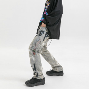2020 original designer new State Street high tide spraying printing to do the old hole winter men's jeans trousers