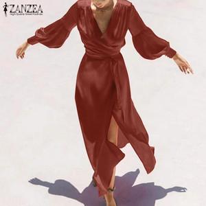 2020 Frühling-lange PUFFÄRMELN Sundress ZANZEA elegantes Wickelkleid Frauen reizvoller fester V-Ausschnitt Hoch Split Bandage lang Maxi Vestidos
