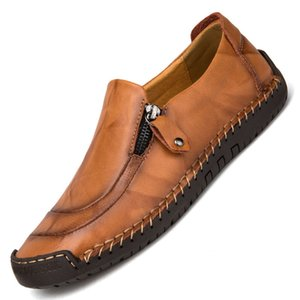 LLAIKEPH Men Genuine Leather Loafers Cow Leather Slip Ons Casual Outdoor Flat Driving Walking Shoe Big Size YB570950