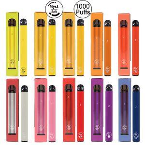 Original Myst Salz Plus 1000 + Puffs Einweg-Gerät Vape Pen 650mAh Akku 3,2 ml Vorgefüllte Starter Kit Portable System-Vaporizer Vapor