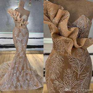 Chmpagne Glitter Dubai de um ombro Prom Dresses Mermaid longa noite formal do partido vestidos Árabe Couture Kaftan Vestidos Cocktail