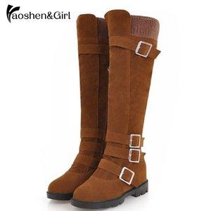 HaoshenGirl Malha das Mulheres Botas Altas Outono Inverno Zip Joelho-alta Bota Sapatos Femininos Botas Mulheres Salto Alto Calçado Tamanho 34-43