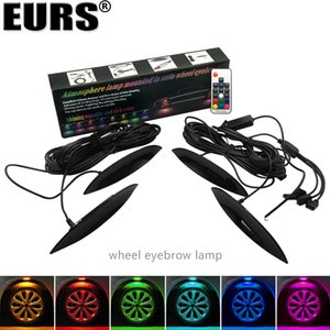 EURS Car wheel eyebrow lamp Car-styling 8W 12~24V 4PCS Car Truck LED Wheel Lights Tire Light Eyebrow Shape Decorative Lights