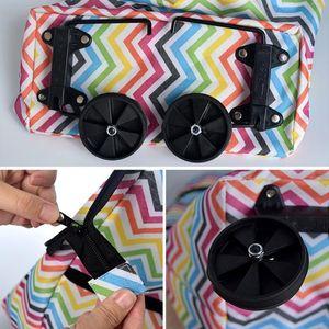 Groceries Fashion On Wheels Folding Large Capacity Eco-friendly Cart Organizer Oxford Cloth Shopping Bag Reusable Portable