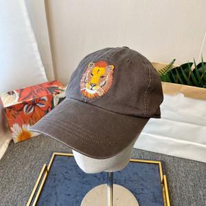Lion Head Вышивка Дизайнер Бейсболка Шаровые Кепки Man Woman Регулируемое Brand Street Hat Шапочки высоко качества