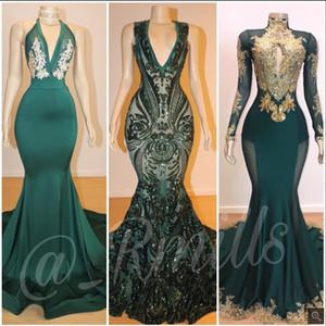 2020 Turquoise пришивания Русалка Пром платья Глубокий V шеи без рукавов вечерние платья плюс размер African Светоотражающие платье