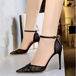 Sexy Mesh High Heels Sandals Shoes Woman yellow Nude Wedding Shoes 10cm High Heels Party Summer Sandals 34-43