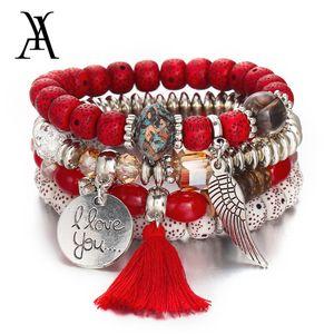 Designger Brancelet Women Bohemian Multi Layer Crystal Natural Stone Beads Red Bracelet Vintage Tassel Angel Wings for ladys Fashion jewelry