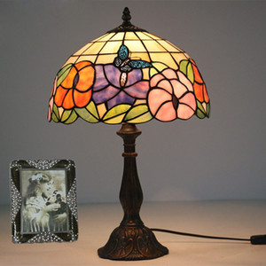 Glass Art Lamp Living Room Study Desk Lamp Vintage Bedroom Bedside Table Lamp Flowers Butterfly Warm Stained Glass Decorative Table Light