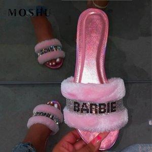 Kadınlar Zapatos De Mujer için Kadınlar Moda Ev Terlik Kürk Slaytlar Bebek Pembe Terlikler Parlak Elmas Kapalı Ayakkabı Saç Terlik