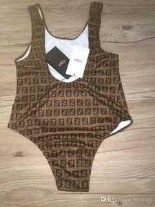 2019 sportswear das mulheres do verão clássico retro flor velha letra F logo Slim one-piece brown swimsuit