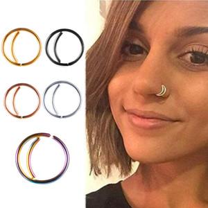 En acier inoxydable anneau de nez cerceau anneaux septum nez bijoux de corps de piercing goujons goujons de calibre 20 mm barres d'oreille boucles d'oreilles tragus