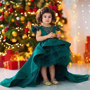 2020 Новый Dark Hunter Green девушки Pageant платья Cap рукава Кристалл бисера Высокие Низкие девушки цветка платья детская одежда День рождения Причастия платье