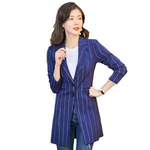 Abiti da donna Blazers 2021 Fashion Casual Stripes Elegante Blazer Long Blazer Donne Giacca Capistrello Giallo Ladies Lavoro Indossare vestiti Slim e Jack