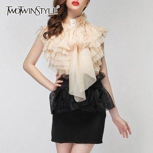 TWOTWINSTYLE en mousseline de soie Blouse Femme Tops perspective manches bowknot Ruffles Chemises Femmes 2018 Sexy Summer Fashion