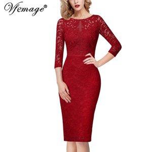 Vfemage Womens Elegante Pizzo Floreale Keyhole Back 3/4 Sleeve Patchwork Cocktail Wedding Guest Party Slim Bodycon Matita Vestito 1017 Y190426