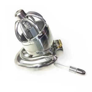 Stainless Steel Cock Cage with Spike Ring Urethral Catheter Penis Plug Male Chastity Device XCXA277-2-jd