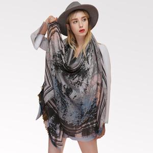 Las nuevas mujeres Lobo Flor bufanda larga bordado mantón del abrigo de la estola de algodón de lino
