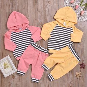 New baby kids clothes Sets 2 colors Spring Autumn kids Striped hoodie top+solid trousers two piece sets kids designer clothes JY647