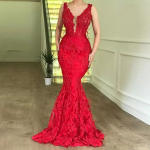 Red Mermaid Lace Feather Evening Dresses V-neck Sleeve Zipper Back Celebrity Gown Sweep Train Tulle Prom Wear
