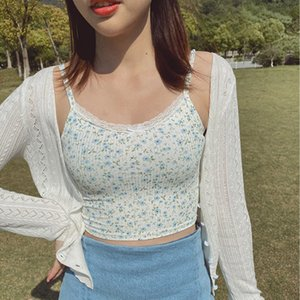 2020 Summer floral print Women Fitted Ribbed Cropped Spaghetti Strap Tank Top In Print Crop lace front Camis With Frill Trimming