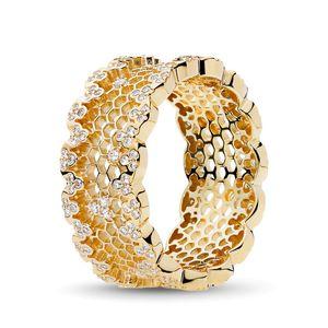 Anello reale Lace 18K dei monili del progettista di lusso argento 925 Honeycomb donne anelli di fidanzamento con Pandora originale regalo Box