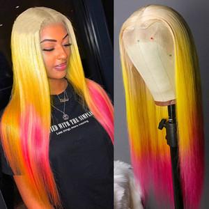 Lace Arcobaleno Capelli Parrucche piene Giallo Ombre Rossi Lisci Glueless parrucche per donne di colore con capelli del bambino