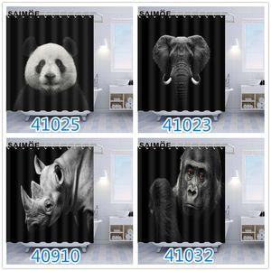 Chinois Panda Motif Poliban Éléphant d'Afrique Rhino Gorilla Animal World Salle de bain Rideau de douche Rideau étanche avec crochet