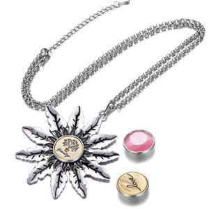 NOOSA Interchangeable Jewellery Shining Sun Pendants Necklace Metal Snap Button Jewelry with Stainless Steel Chain VOCHENG NN-773