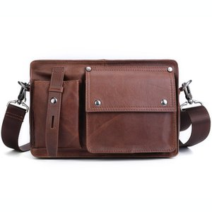 Genuine Leather Men Crossbody Bag Retro Cow Leather Casual Shoulder Bag Multifunctional Fashion Business Men's Briefcase