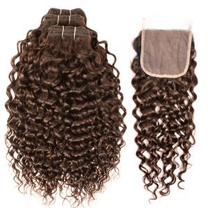 Marrón Agua rizado mechones de cabello humano con cierre # 4 brasileño de la Virgen del encierro del pelo 3/4 paquetes con 4x4 cordón de Remy extensiones del pelo