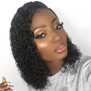 Silk Top Glueless Short Wig With Baby Hair Curly Brazilian Virgin Hair Short Lace Front Human Hair Wigs Silk Base Pre Plucked