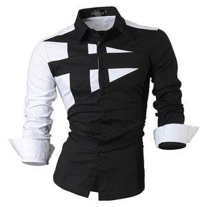 Jeansian Herrenhemden Lässig Stilvoll Langarm Designer Button Down Slim Fit 8397 Schwarz