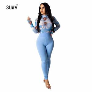 SUWA 2.020 novas mulheres Define Tracksuits Verão impressão Tops + terno de calças Dois Piece Set Club Party Noite Sportswear Rua Casual 2 pcs