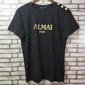 2019 Verão Novo Designer Clássico T-shirt Fivela de Ouro Hot Stamping Carta de Ouro de Manga Curta de Algodão T Camisa Para As Mulheres