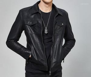 Giacche di pelle della molla di autunno Hombres Jacket cappotti vestiti PU nero Mens