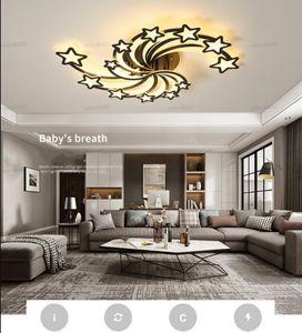 Creative Star LED Ceiling Light Dining Living Room Black Or White Simple Indoor Ceiling Lamp Bedroom Home Deco Modern Panel Lamp LLFA