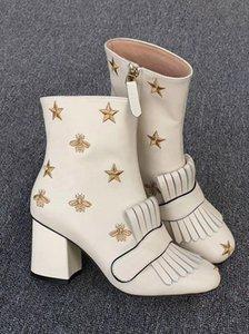 Designer Winter boots platform ankle boot with fringe Embroidered leather High Heels platform boots mid-heel women vintage loafers big size