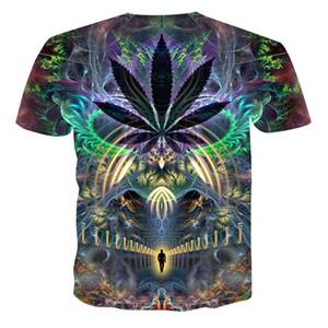 2019 Yeni Yaz Stil Erkek T-Shirt Renkli Galaxy Uzay Psychedelic Çiçek 3D Baskı Kadınlar / Erkekler T Gömlek Hip Hop Casual Tees Tops